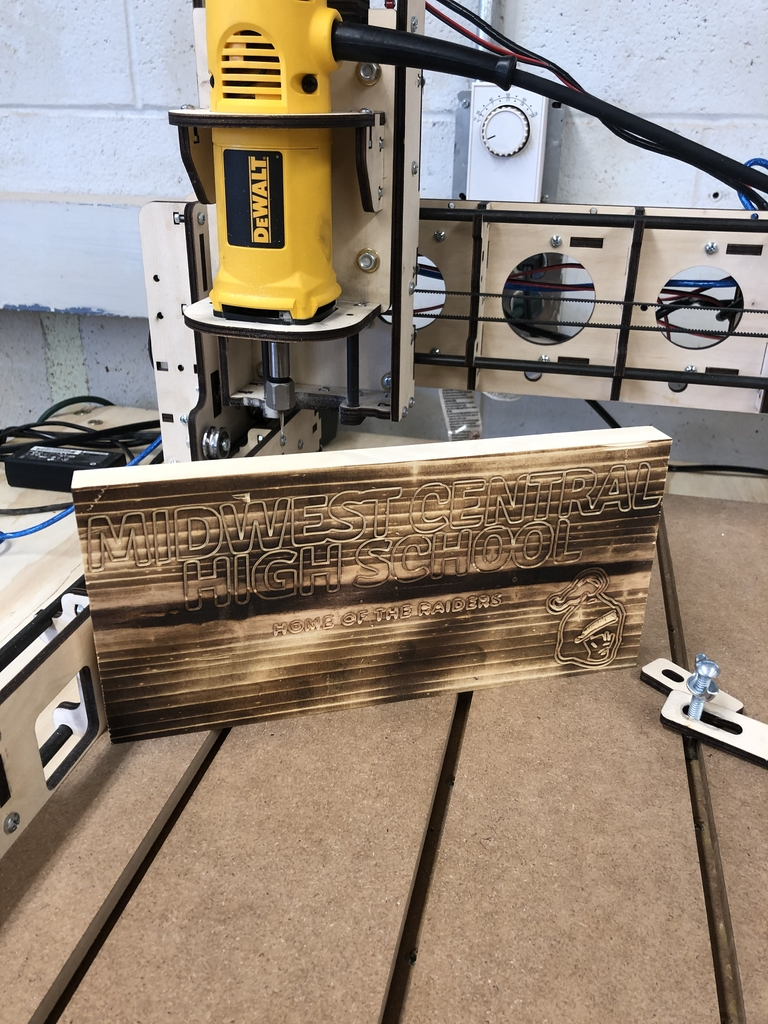 A finished CNC wood router project